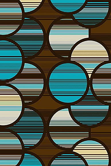 Planet Rugs Premium 3D Effect Hand Carved Modern Abstract 5×8 5×7 Colorful Luxury Rug for Bedroom, Living Room, Dining Room Contemporary 4028 Blue Brown