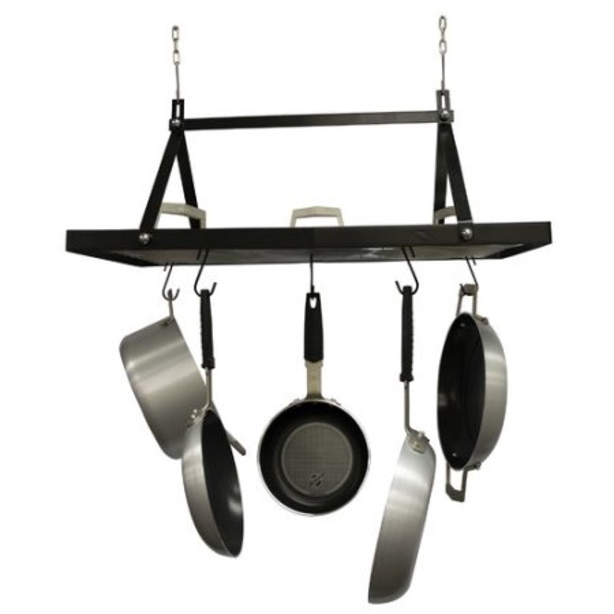 Black Rectangle Shapped Metal Hanging Kitchen Pot Rack