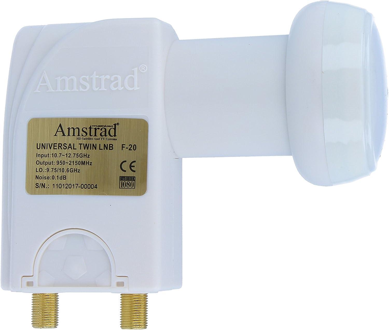 Kontakte vergoldet Amstrad Wetterschutz Twin LNB LNC 2 Teilnehmer Direkt FULL HD TV 3D 4K ausziehbar