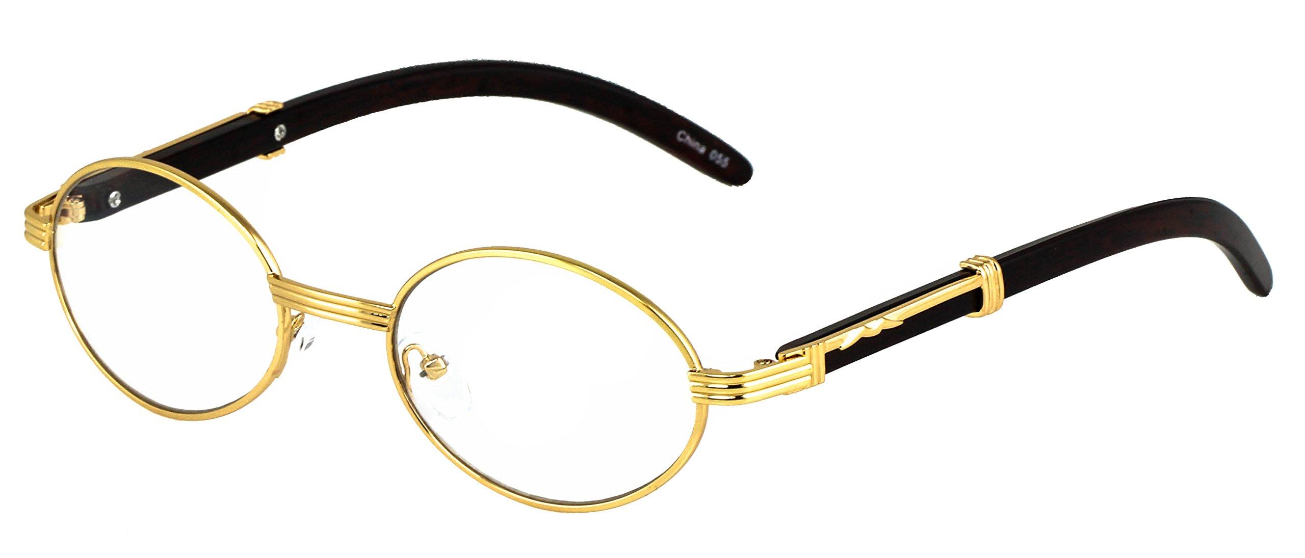 Elite WOOD Art Clear Lens Eyeglasses Unisex Vintage Fashion Oval Frame Glasses (Gold, 2)