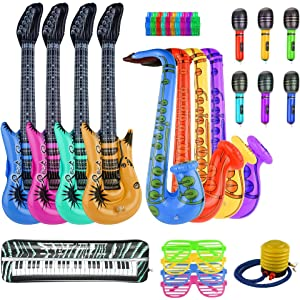 12x Inflatable Guitar Saxophone Microphone Blow Up Fancy Dress Party Prop Toys