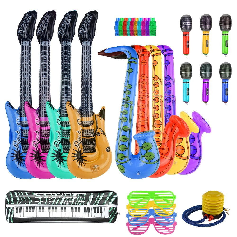 FEPITO 30PCS Inflable Set de Juguetes Rock Star Inflatables Saxofón Guitarra Micrófono Inflatable Instruments Party Props con Bomba de Globos para Prop de ...