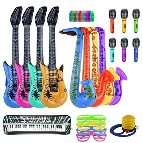 FEPITO 30PCS Inflable Set de Juguetes Rock Star Inflatables Saxofón Guitarra Micrófono Inflatable Instruments Party Props