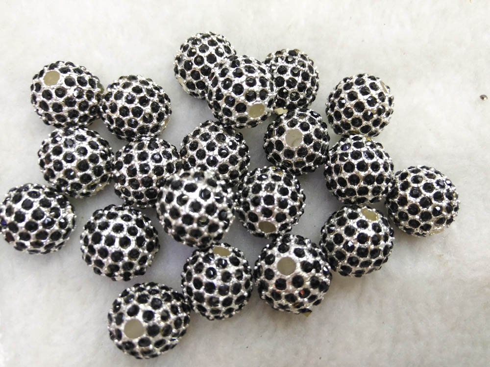 100pcs Micro Pave Crystal black silver gold Shamballa Ball beads 10mm Micro Pave Jet Findings Charm, Round Ball Spacer by weekbeads