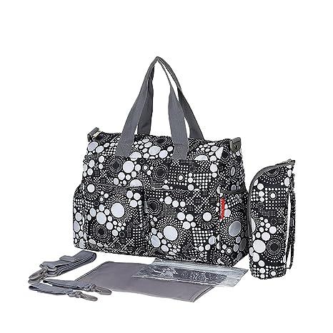 Bolsas Impermeables De Momia Del Bebé Del Panal Bolso De Viaje Cambio - Blanco y negro, 37x16x30cm