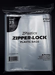 """ZPLASTICS Ultimate Resealable 9""""x12"""" Plastic Bags 2MIL (125-Pack)  Clear Reclosable Zip Storage Bag   Odorless Non-Toxic Airtight Food Bags with Strong Zipper Seal"""