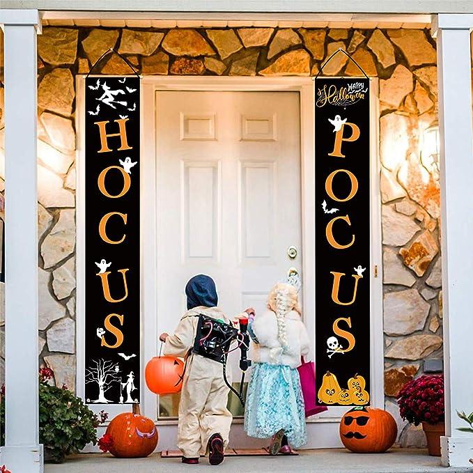 Whaline Hocus Pocus Halloween Banner Indoor Outdoor Deko Hangeschild Fur Home Office Haustur Veranda Willkommen Halloween Dekoration Amazon De Kuche Haushalt