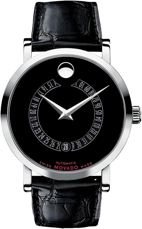 Movado 0606158 - Reloj para Hombres, Correa de Cuero Color Negro