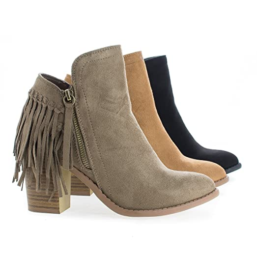 Fringe Western Stacked Heel Ankle Boots
