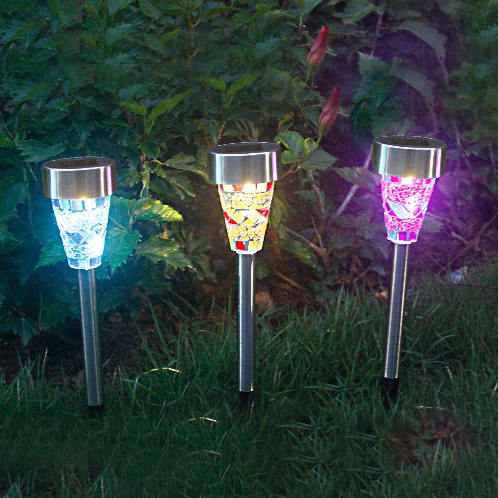 3 Estaca Luces Solares Focos Led Jardin Decoracion Luces