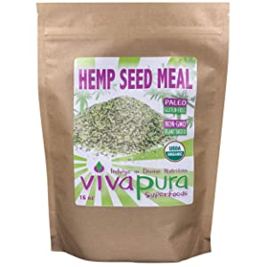 Vivapura Superfoods Organic Hemp Seed Meal, 16 oz - Raw   Vegan   Keto   Resealable Pouch