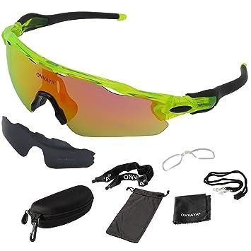 ONVAYA UV400 Polarizadas Deportes Gafas de sol de 9 piezas | Gafas deportivas | Cilindro de