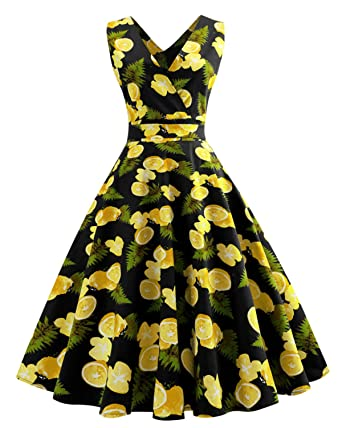 4c2fc71dc74df ZAFUL Women Vintage V Neck Dress Sleeveless Lemon Printing Swing Midi Dress  with Belt(Black