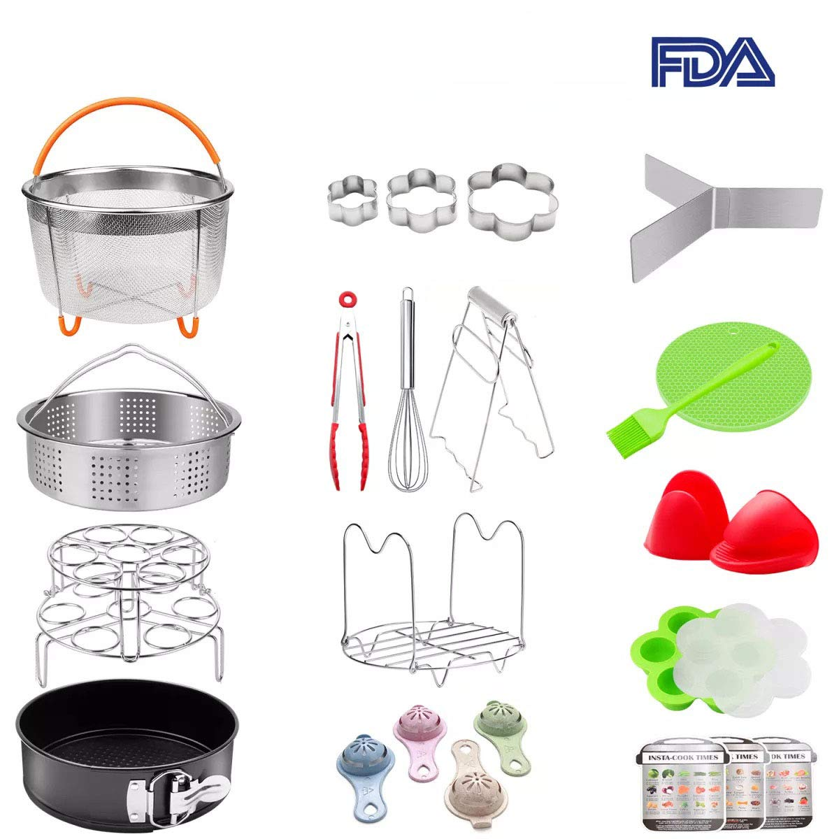 25 pieces Pressure Cooker Accessories Set Compatible with Instant Pot 6 qt 8 Quart- Steamer Basket, Springform Pan, Stackable Egg Steamer Rack, Egg Beater, Silicone Trivet Mats & More