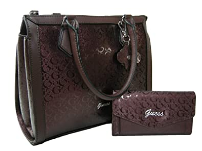 9484d7146d5 Image Unavailable. Image not available for. Color  New Guess G Logo Purse  Satchel Crossbody Hand Bag   Wallet Matching Set 2 Piece Wine