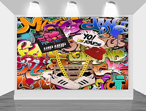 Amazon Com Menggege Photography Backdrop Hip Hop 80 S 90 S Themed