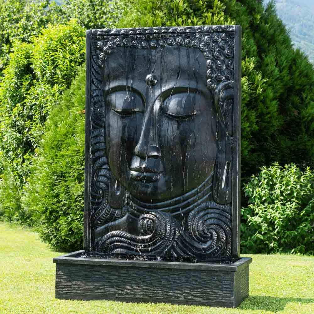 Wanda collection Fuente Grande de jardín Pared de Agua Rostro de Buda 2, 10 m Negro: Amazon.es: Jardín
