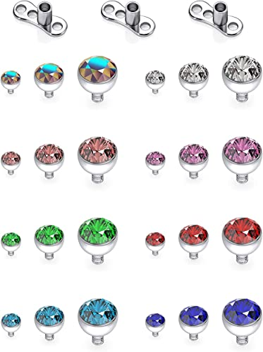 SCERRING 14g Clear CZ Dermal Anchor Tops and Base Titanium Microdermals Piercing Body Piercing Jewelry for Women Men 2mm 3mm 4mm 2-3PCS
