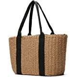 Women Shoulder Bag, Tezoo Popular Handbag and Tote for Beach Travel and Everyday Use, Woven Straw Braid, with Top Handle and String Closure Pocket, Coffee and Off-white