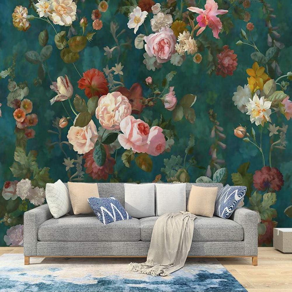 Milusen Vintage Rose Wallpaper Oil Painting Flower Pastoral Mural Living Room Wallpaper Nonwoven Dark Green Amazon Co Uk Diy Tools
