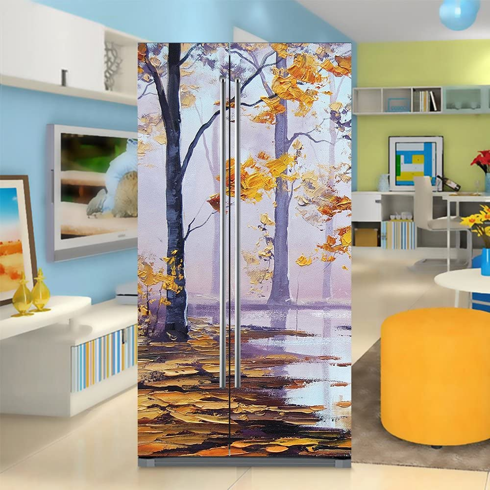 yazi Side-by-Side Refrigerator Full Door Cover Decal Vinyl Removable Sticker Kitchen Art Décor Tree Paiting 20x71 inches by 2 Pieces