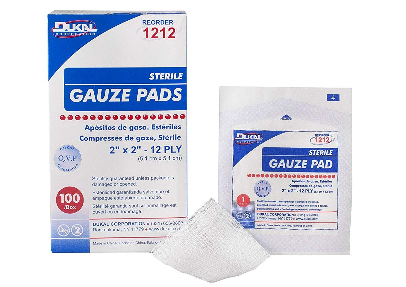 Dukal 1212-10 Gauze Pad, Sterile, 2'' L x 2'' W, 12-Ply (10 Boxes of 60) (Pack of 600) by Dukal