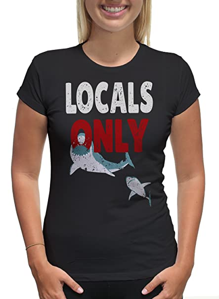 Amazon.com  Young Motto Women s LOCALS ONLY SHARK SURFER T-Shirt  Clothing 0b6bcb4f4
