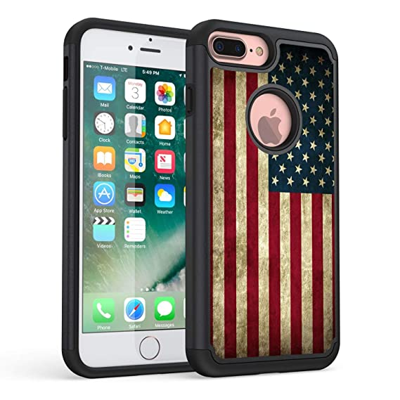 hot sale online efd03 2209b iPhone 7 Plus Case,iPhone 8 Plus Case,Rossy Retro Vintage Old USA American  Flag Design Shock-Absorption Hybrid Dual Layer Armor Defender Protective ...