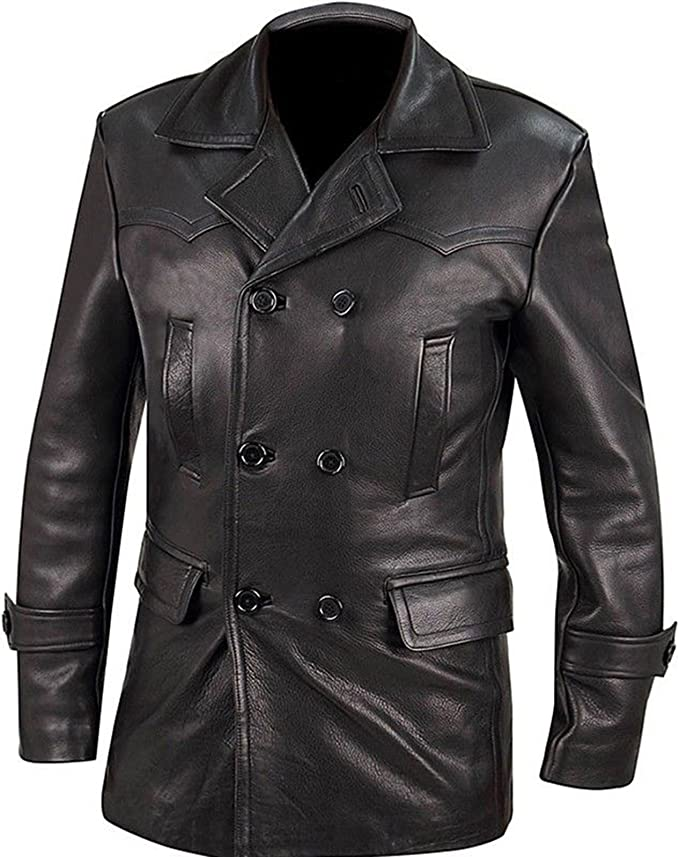 German Style Classic Military Officer Black Leather Trench Coat