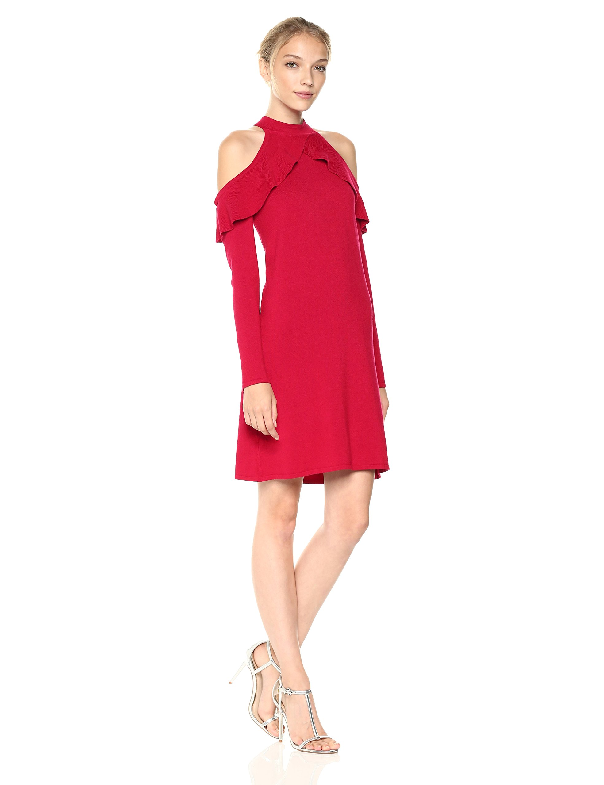 Ali & Jay Women's Love At First Sight Mini Cold Shoulder Ruffle Dress, Scarlet, Small