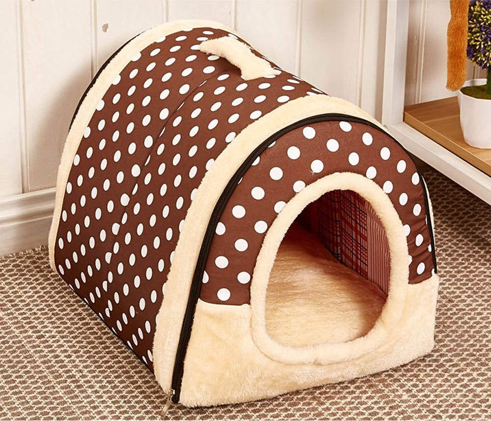 Multifuctional Warm Fleece Soft Removable Dog House Nest with Mat Foldable Pet Dog Cat Bed House for Small Medium and Large Dogs (L, Polka Dotted Brown)