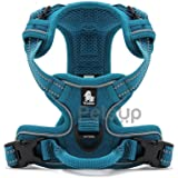 Petsup 3M Reflective Dog Vest Harness Front Range No Pull Harness With Handle (Medium, Blue)