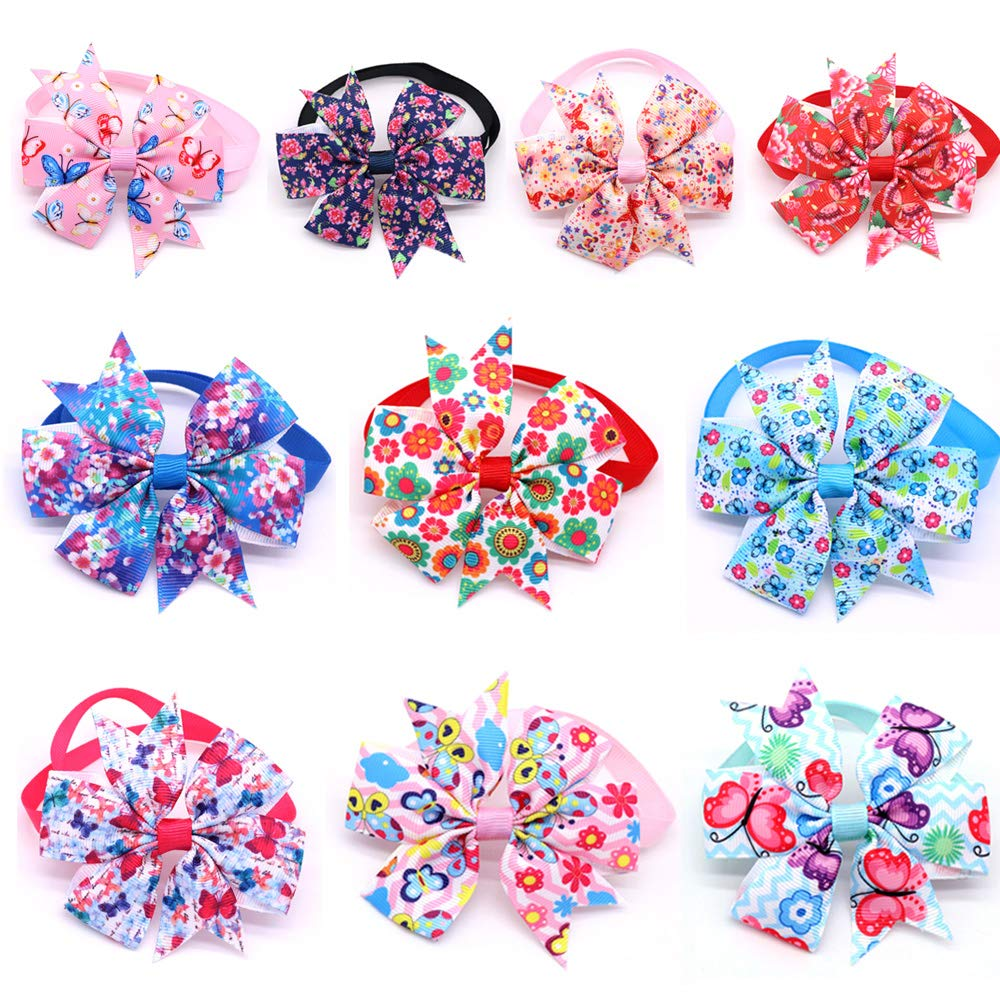 Masue Pets Spring Summer Dog Bow Ties 3.2'' Bow Butterfly pet Ties Dog Ties Collar fit for Small and Middle Size pet (Butterfly Pinwheel) by Masue Pets