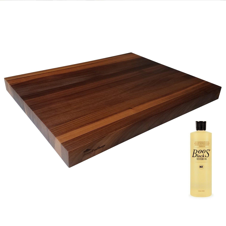 Wood Shelf Platform ONLY - 1-1/2'' x 15'' x 19'' - For Revashelf RAS-ML-HDCR Heavy Duty Mixer Lift - Walnut Butcher Block - w John Boos MYSB Mystery Oil 16 oz Bottle Included - Trimmable