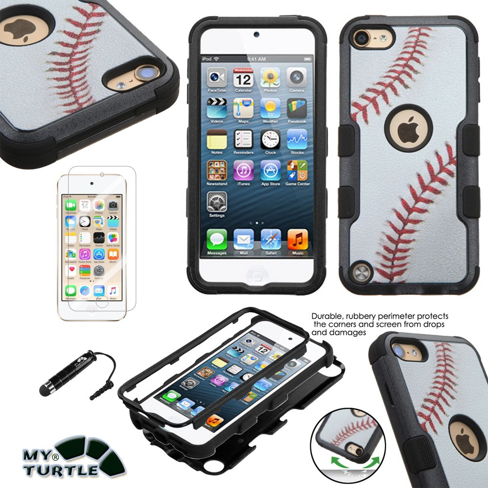 MYTURTLE Shockproof Hybrid Case Hard Silicone Shell High Impact Cover with Stylus Pen and Screen Protector for iPod Touch 5th 6th Generation, Ball Sports Baseball Tuff MYTURTLE TM