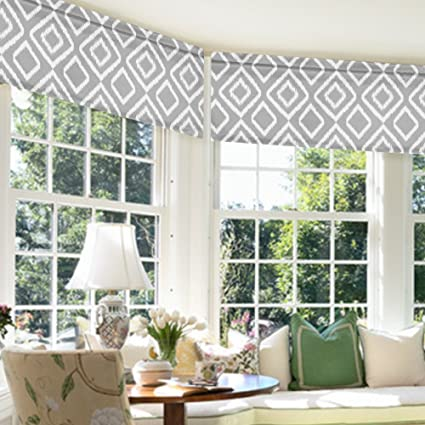 Flamingo P Ikat Fret Gray Valance Curtain For Kitchen Living Dining Room  Bathroom Kids Girl Baby