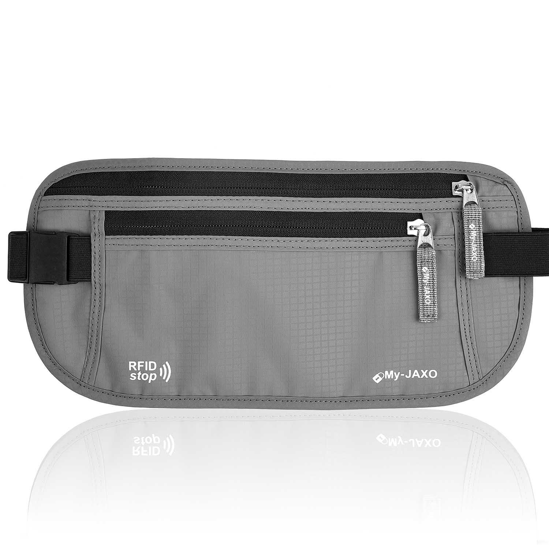 My-JAXO Family Travel Waist Wallet Safety Money Belt for Men or Women RFID Black or Grey