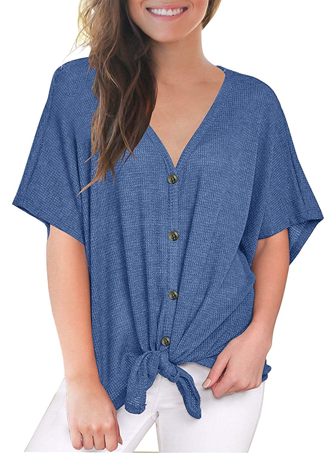 TWKIOUE Womens Waffle Knit Tunic Short Sleeve Loose Blouse V Neck Button Down T Shirts Tie Front Knot Casual Tops
