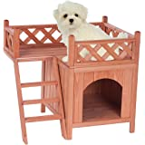 Merax High-quality Natural Wood Color Wooden Pet Dog House Cage Crate Indoor/Outdoor