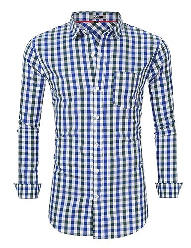 KOJOOIN Trachtenhemd kariert Herren Hemd Freizeithemd Landhausstil Langarmhemd Slim fit Hemd Bestickt Baumwolle - für Karneva