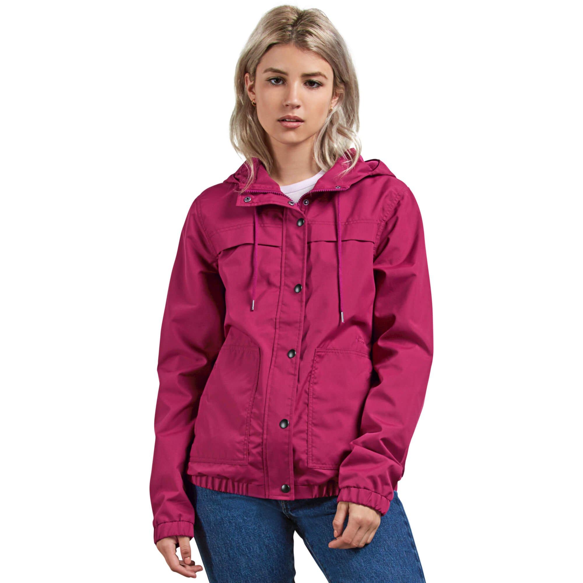Volcom Junior's Enemy Stone Hooded Zip Front Windbreaker Jacket, Paradise Purple, Medium by Volcom