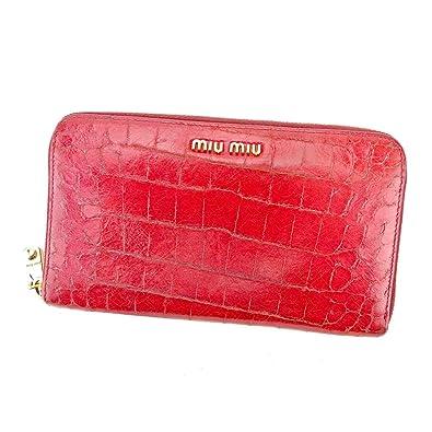 353bf47403c0 (ミュウミュウ) Miu Miu 長財布 財布 ラウンドファスナー レッド ゴールド パープル クロコダイル調