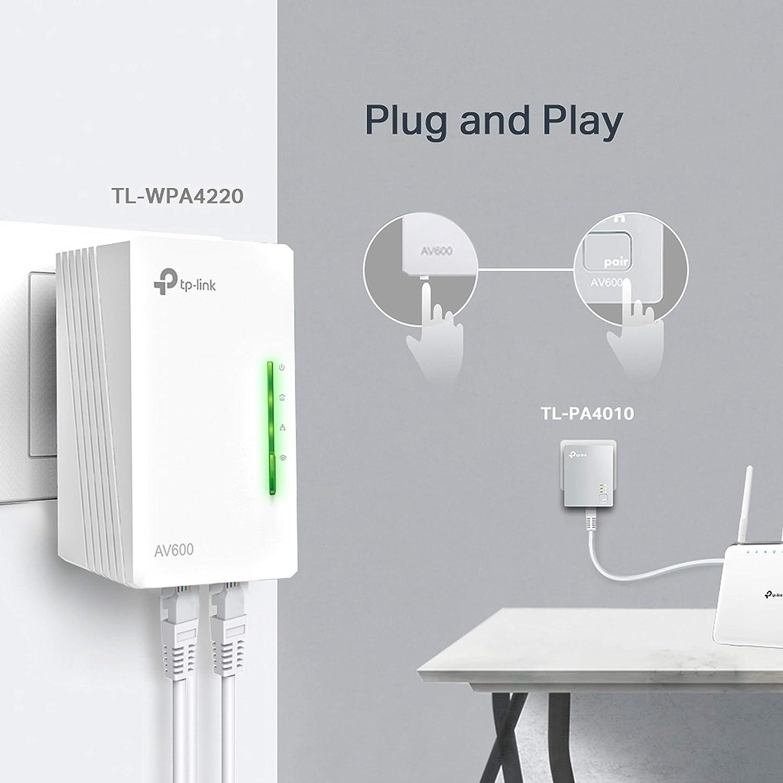 TP-Link TL-WPA4220 KIT - 2 Adaptadores de Comunicación por Línea Eléctrica (WiFi AV 600 Mbps, PLC con WiFi, Extensor, Repetidores de Red, Amplificador ...