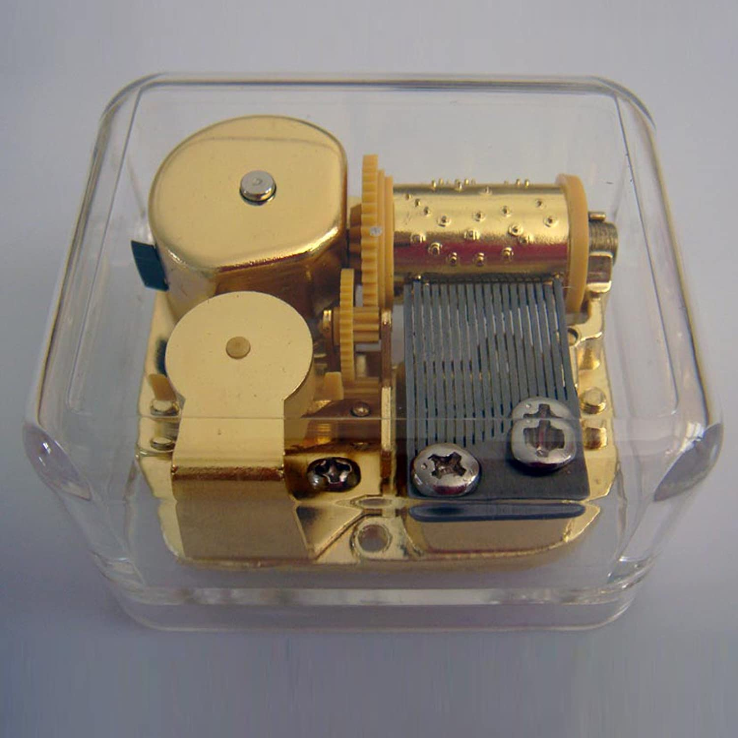 Away In A Manger See-Through Wind Up Music Box Gold Plated Retro Musicbox Hwamart