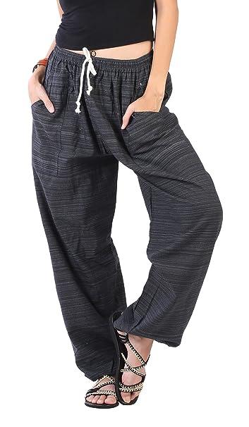 27b071ddc8c1 CandyHusky Women Elastic Waist Drawstring Summer Casual Baggy Hippie Yoga  Pants (Black)