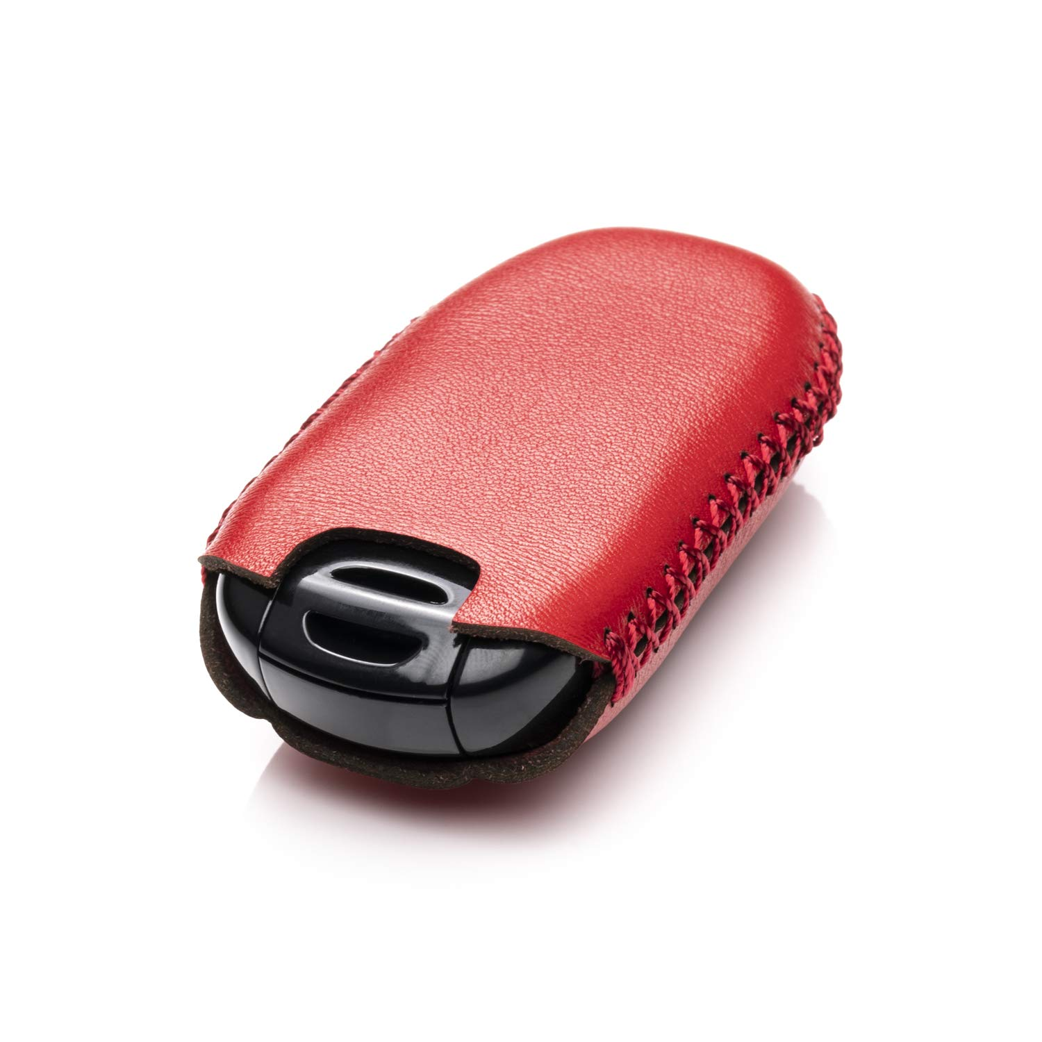 Vitodeco Genuine Leather Keyless Entry Remote Control Smart Key Case Cover with Leather Key Chain for Tesla Model X Red
