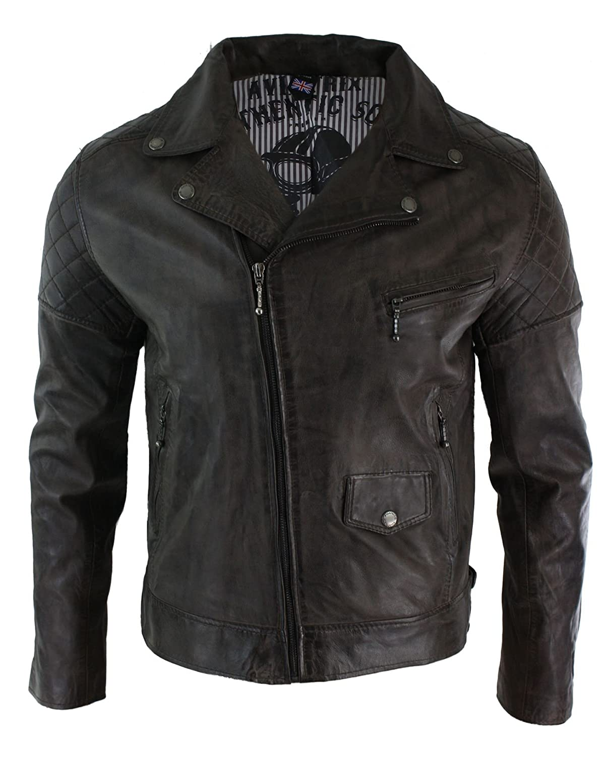 Mens Cross Zip Casual Real Leather Retro Vintage Brown Biker Jacket Slim Fit