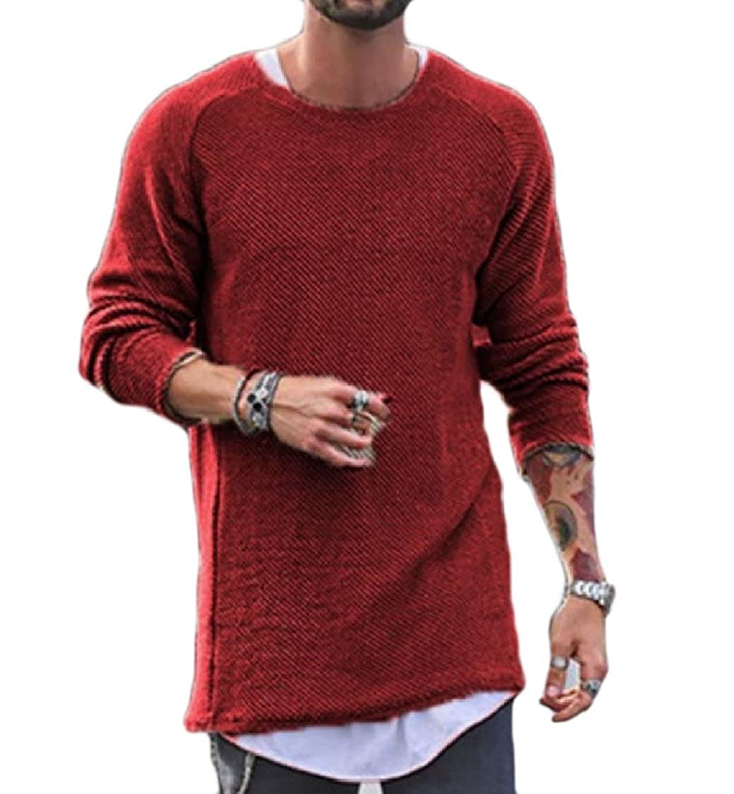 Yayu Men Crewneck Long Sleeve Lightweight Casual Knit Pullover Sweaters