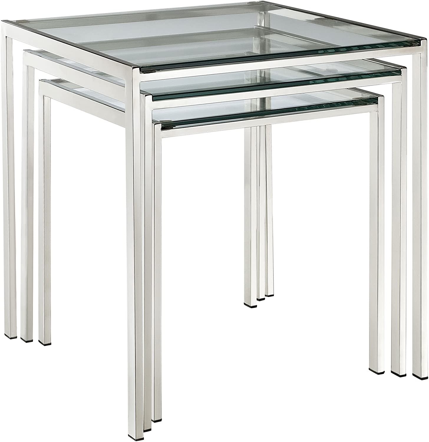 Modway Nimble Glass And Stainless Steel 3 Piece Side Nesting Table Set In Silver Furniture Decor