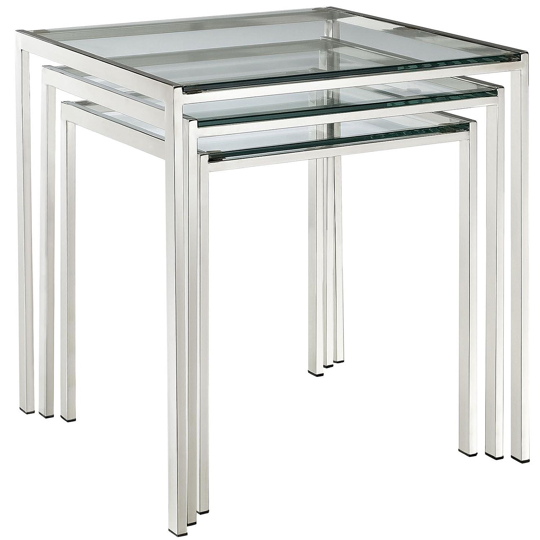 Amazon Modway Nimble Stainless Steel Nesting Table Set